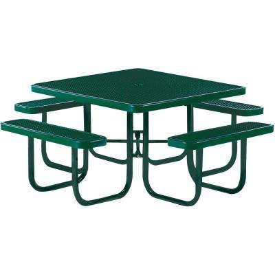 Park 46 in. Green Commercial Square Picnic Table