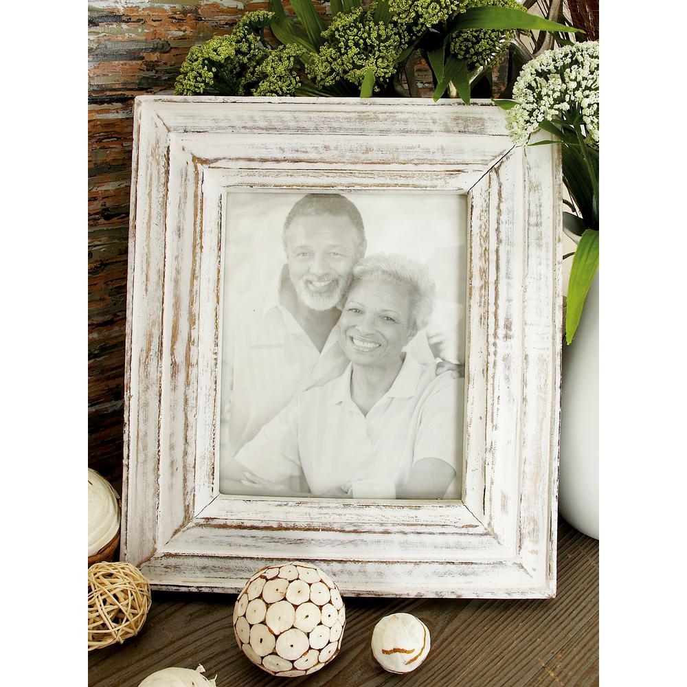 Litton Lane Oak Brown and White Wash Multi-Beveled Picture Frame ...