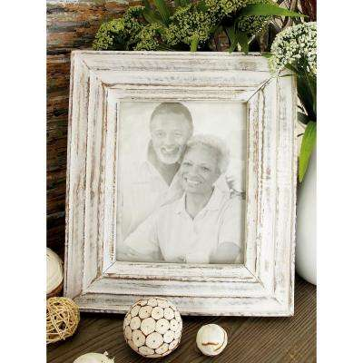 Oak Brown and White Wash Multi-Beveled Picture Frame (Set of 2)