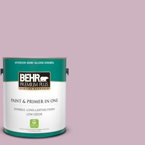 Behr Premium Plus 1 Gal S120 3 Candlelight Dinner Semi Gloss Enamel Low Odor Interior Paint And Primer In One 340001 The Home Depot