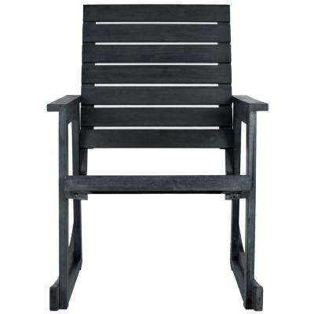 Alexei Dark Slate Grey Wood Outdoor Rocking Chair
