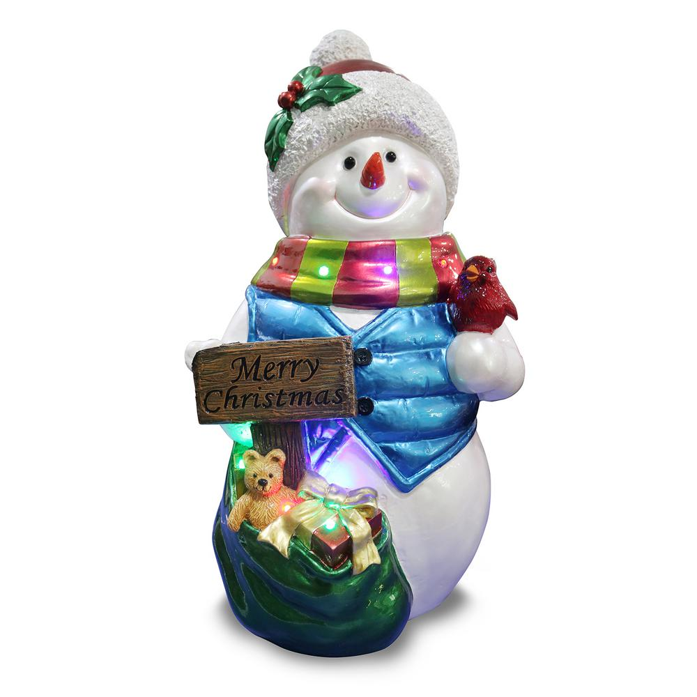 Holidynamics Holiday Lighting Solutions Holidynamics 26 In Resin Merry Christmas Snowman 66270 The Home Depot