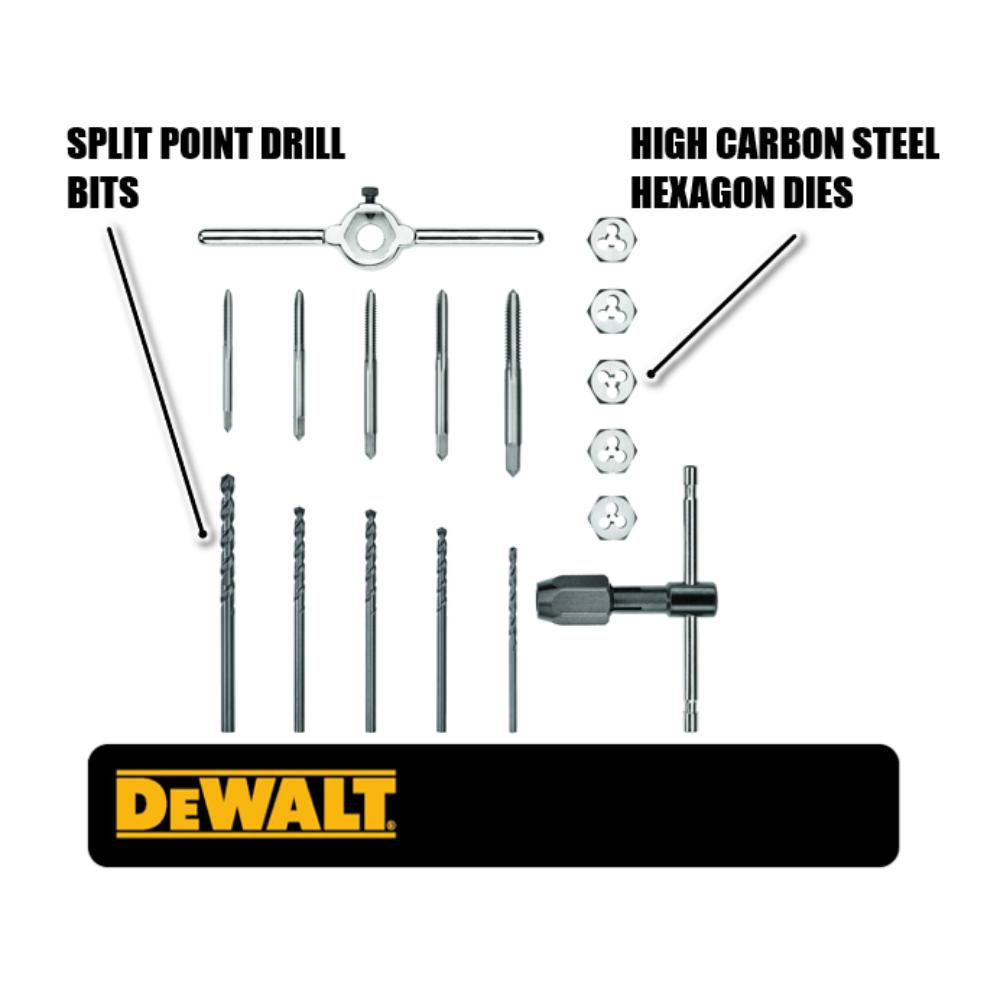 Dewalt Fractional Tap And Set 17 Piece Dwa1451 The Home Depot