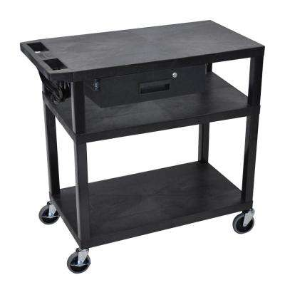 EA 32 in. in Utility Cart with 1-Drawer in Black