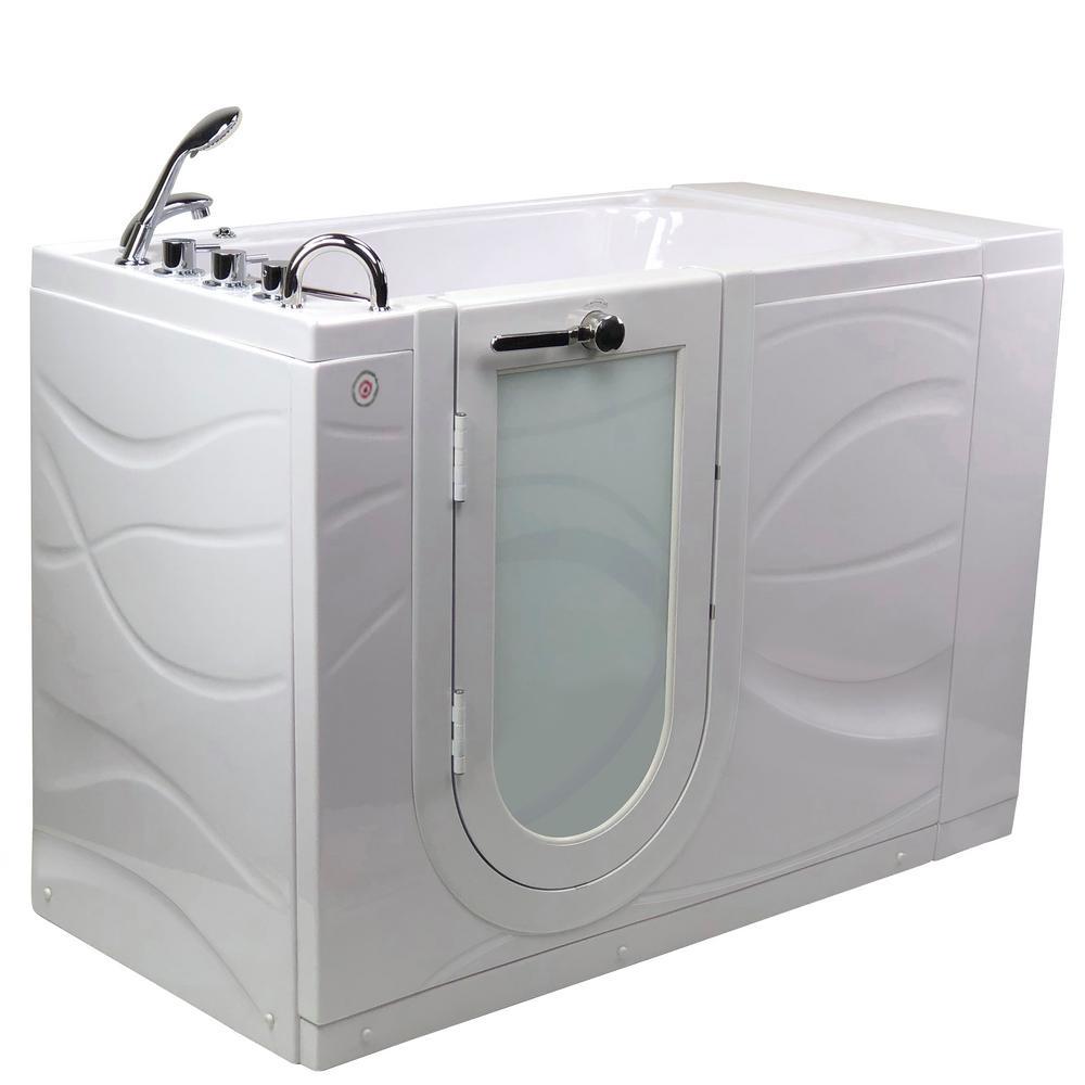 Chi 52 in. Walk-In MicroBubble Air Bath Bathtub in White W/LHS Outward Swing Door, Heated Seat, Faucet, LHS Dual Drain