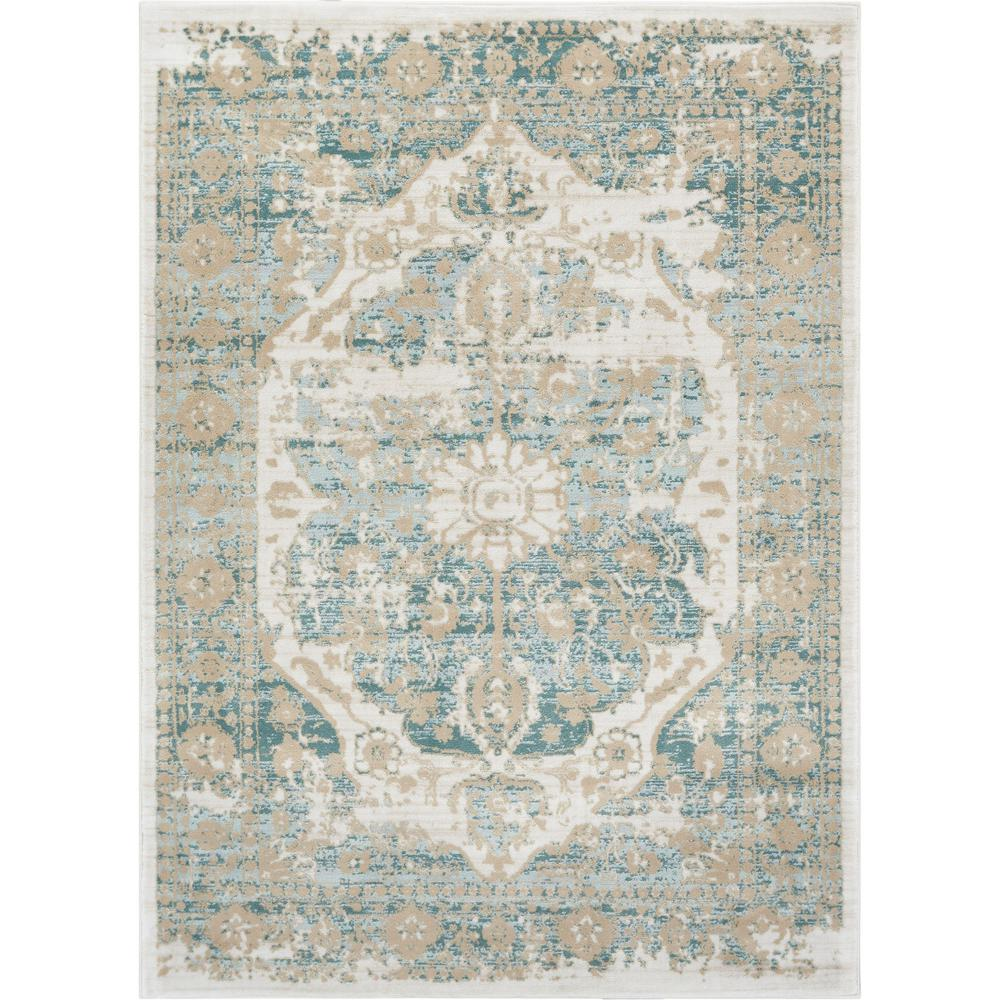 abc65a06a Kensington Maxwell 8 ft. x 11 ft. Modern Medallion Antique Vintage  Distressed Blue Area Rug