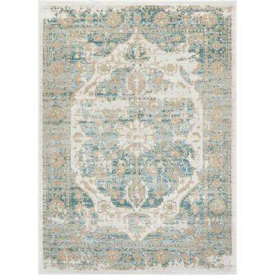 Kensington Maxwell 8 ft. x 11 ft. Modern Medallion Antique Vintage Distressed Blue Area Rug