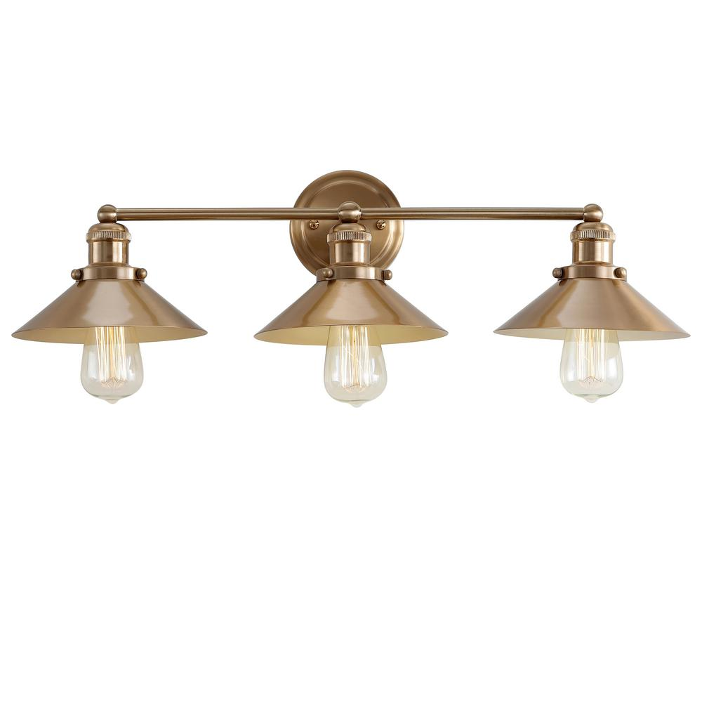 Jonathan y august 26 5 in 3 light metal brass gold vanity light