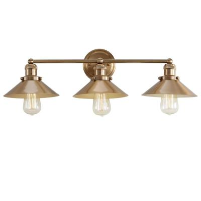 August 26.5 in. 3-Light Metal Brass Gold Vanity Light