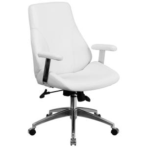Tremendous Flash Furniture Mid Back White Leather Executive Swivel Squirreltailoven Fun Painted Chair Ideas Images Squirreltailovenorg