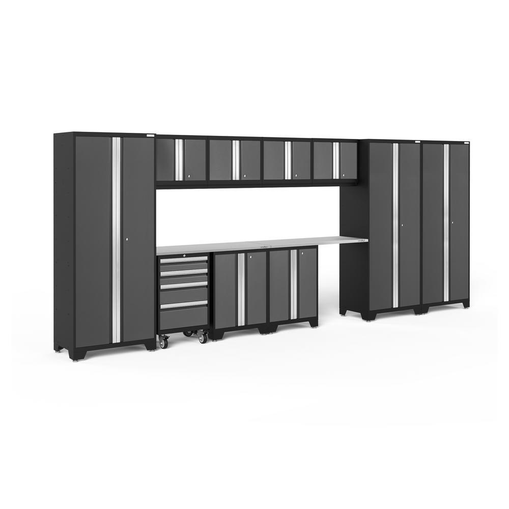 Bold 3.0 77.25 in. H x 186 in. W x 18 in. D 24-Gauge Welded Steel Garage Cabinet Set in Gray (12-Piece)