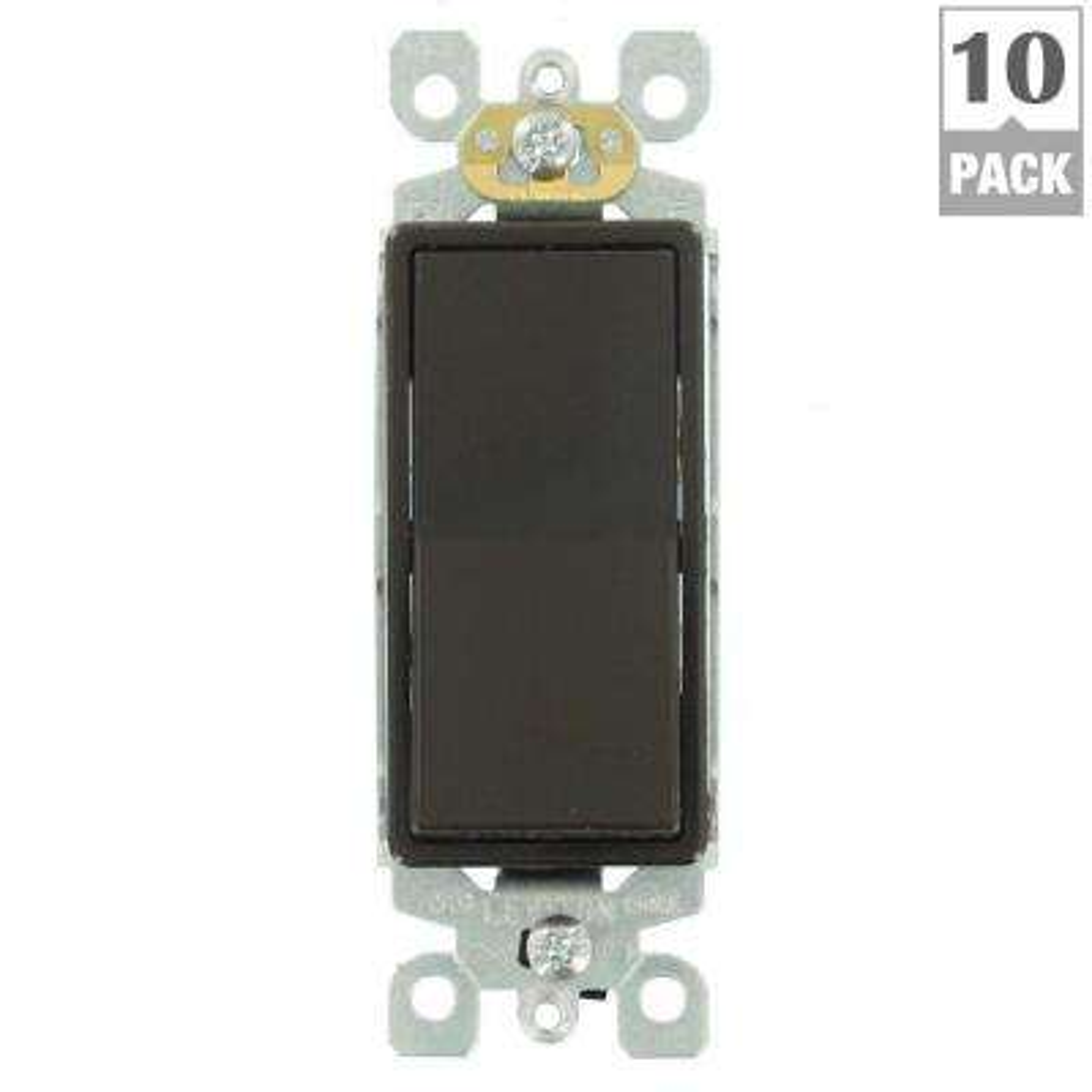 Decora 15 Amp 3-Way Switch, Brown (10-Pack)
