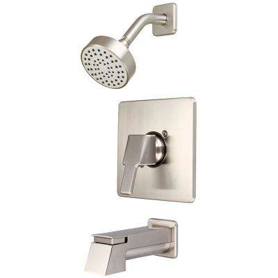 i3 1-Handle Wall Mount Tub and Shower Trim Kit in Brushed Nickel with Extended Tub Spout (Valve Not Included)