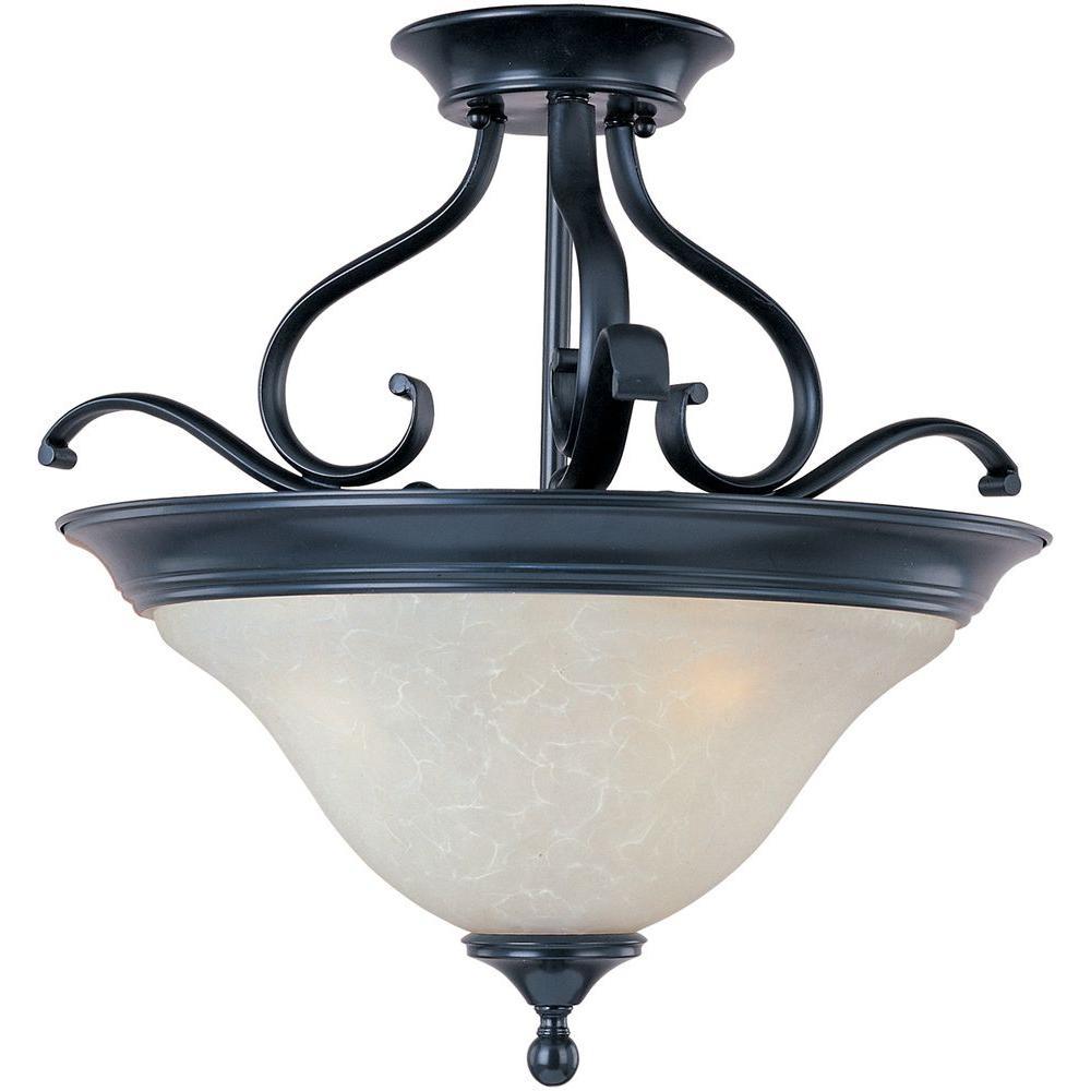 Linda 3-Light Black Semi-Flush Mount Light
