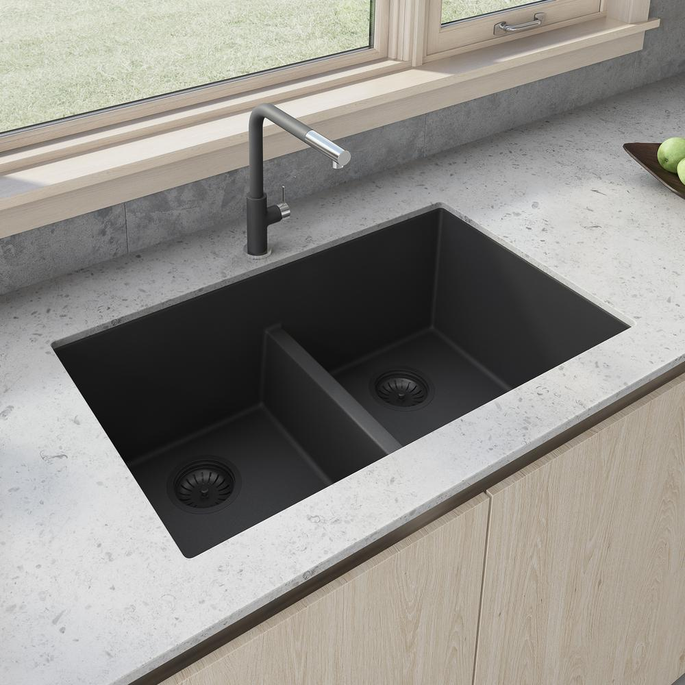 Ruvati 33 In X 19 In Double Bowl Undermount Granite Composite Kitchen Sink In Midnight Black Rvg2385bk The Home Depot