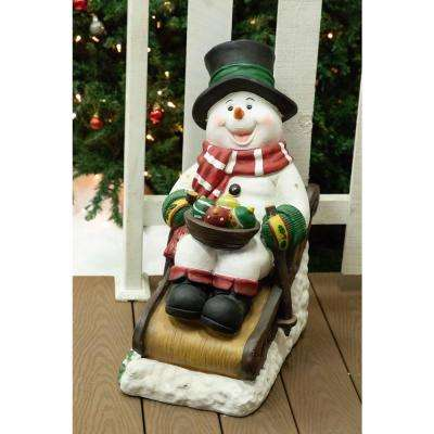 Solar Snowman in Sleigh with 12 LED Lights- TM