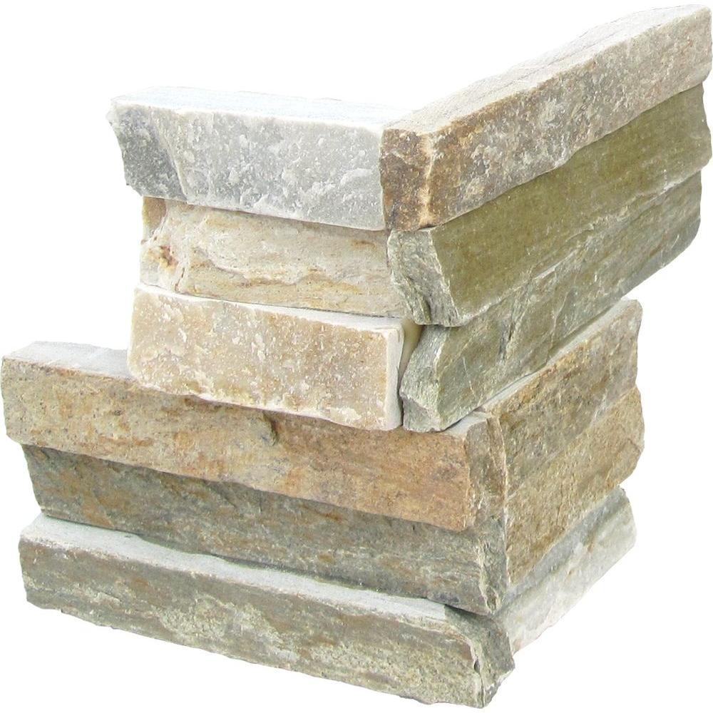 MSI Golden Honey Ledger Corner 6 in. x 6 in. Natural Quartzite Wall Tile (6 sq. ft. / case)