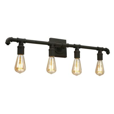 Wymer 31.14 in. W x 5.63 in. H 4-Light Matte Bronze Industrial Vanity Light
