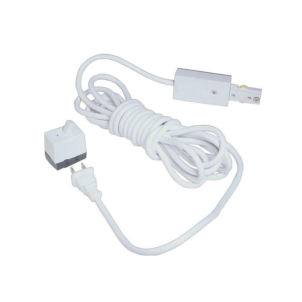 White Live End Linear Track Power Feed with Cord and Plug