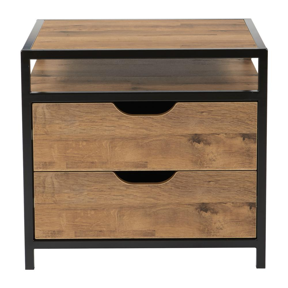 Osp designs quinton 2 drawer alvage oak and matte black coating fully assembled nightstand qtn296 slv the home depot