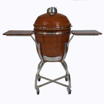 19 in. Ceramic Kamado Grill in Rust with Stainless Steel Cart and Protective Cover