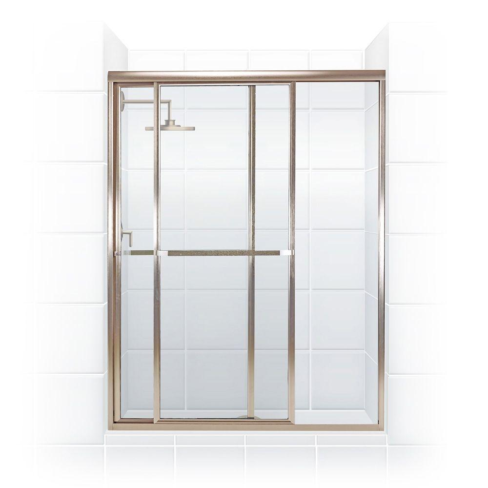 Coastal Shower Doors Paragon Series 52 in. x 66 in. Framed Sliding Shower Door with Towel Bar in Brushed Nickel and Clear Glass