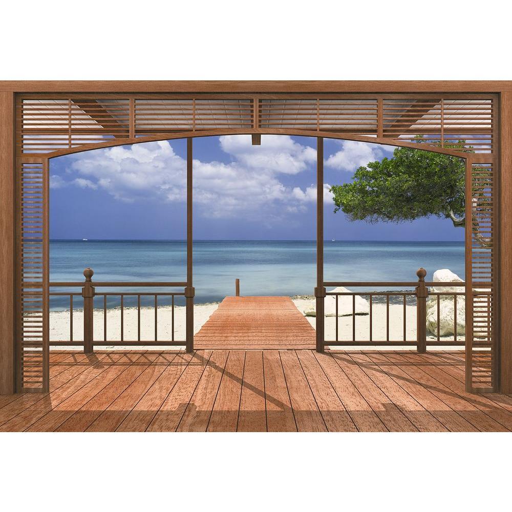 Komar 106 in. x 153 in. El Paradiso Beachfront Deck Mural