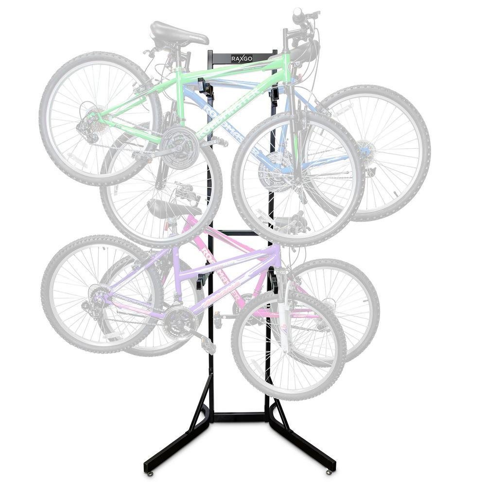 Bike Storage Rack, 4 Bicycle Garage Floor Stand