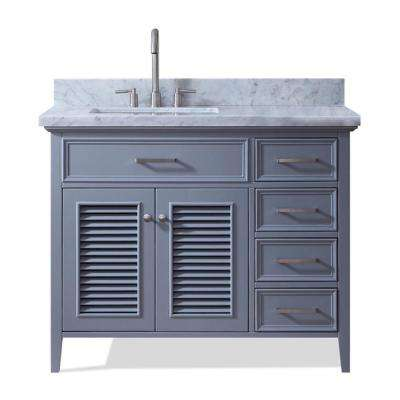 Kensington 43 in. Bath Vanity in Grey with Marble Vanity Top in Carrara White with White Basin
