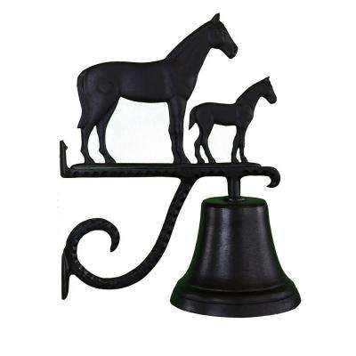 Cast Bell with Black Mare and Colt Ornament