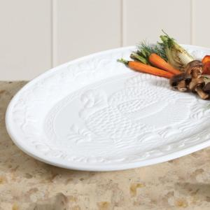 Gibson Home-1-Piece White Ceramic Turkey Oval Platter Set