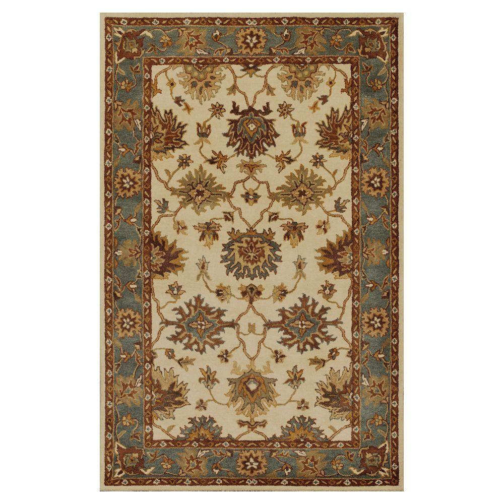 Kas Rugs Antiquity Oushak Ivory/Blue 5 ft. x 8 ft. Area Rug