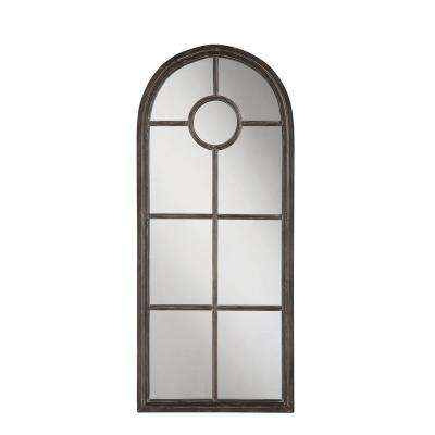 Arched Distressed Black Metal Decorative Wall Mirror