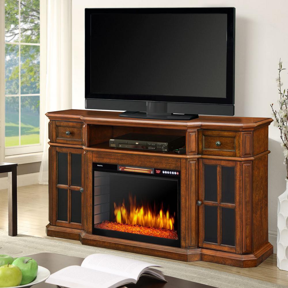 Muskoka Sinclair 60 inch Bluetooth Media Electric Fireplace in Aged Cherry by Muskoka