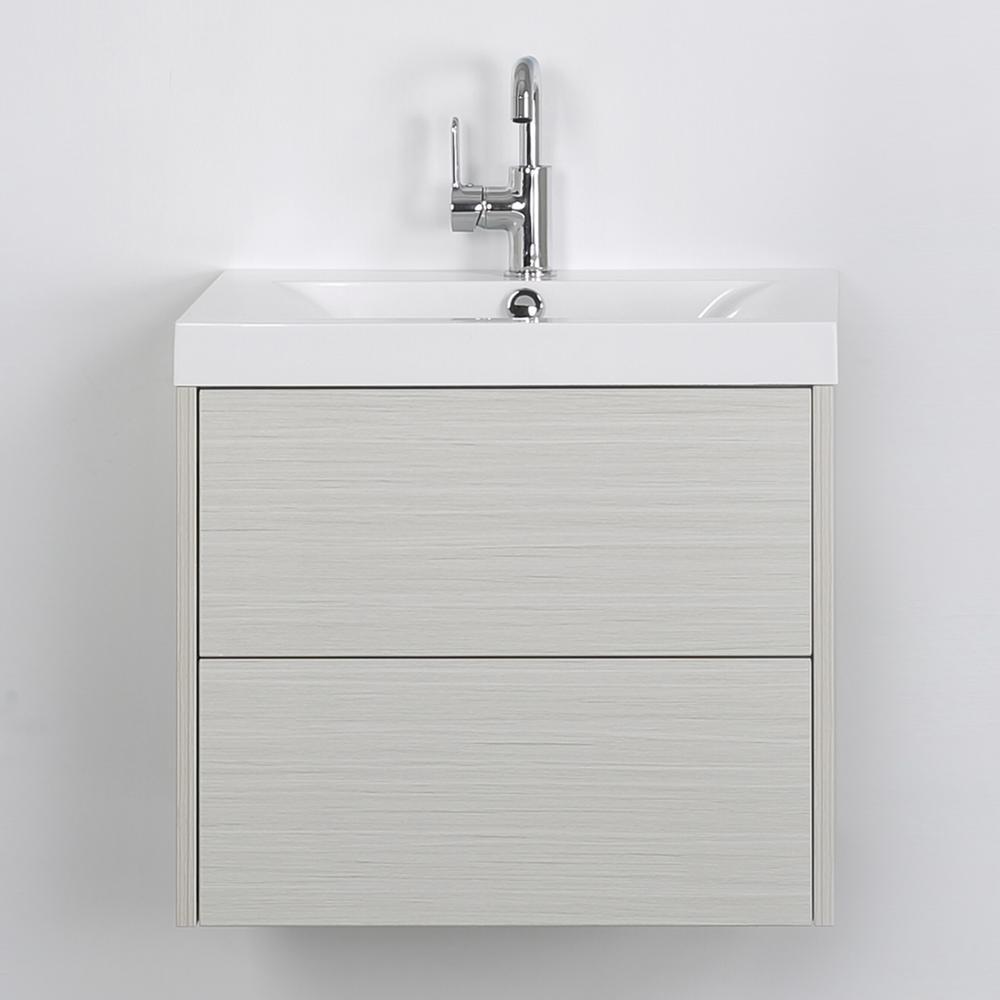 Streamline 23.6 in. W x 19.4 in. H Bath Vanity in Gray with Resin Vanity Top in White with White Basin