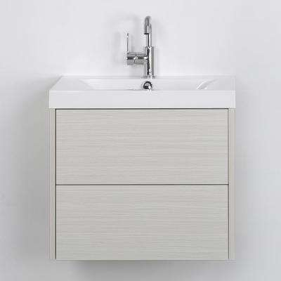 23.6 in. W x 19.4 in. H Bath Vanity in Gray with Resin Vanity Top in White with White Basin