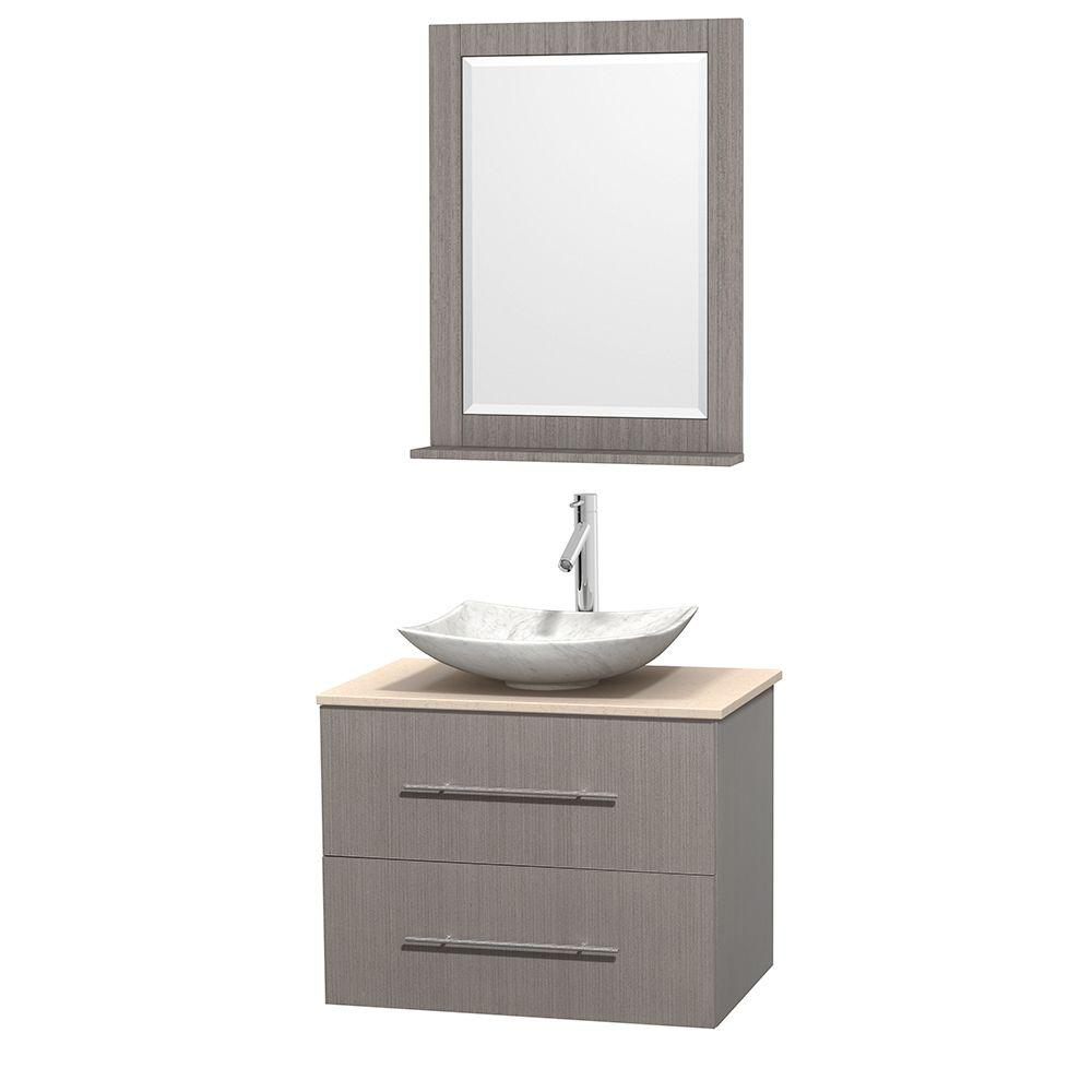 Wyndham Collection Centra 30 in. Vanity in Gray Oak with Marble Vanity Top in Ivory, Carrara White Marble Sink and 24 in. Mirror