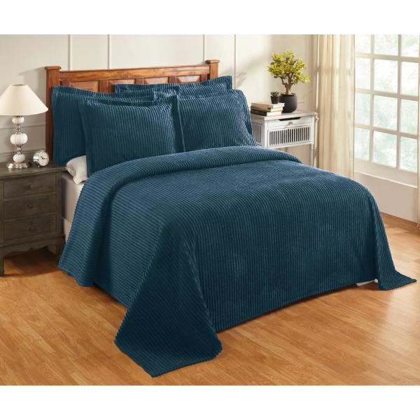 Julian Collection in Solid Stripes Design Teal Queen 100% Cotton Tufted Chenille Bedspread