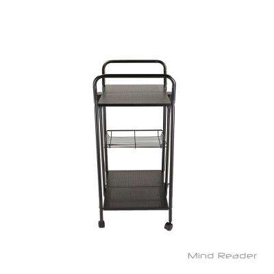 2-Tier Metal Foldable 4-Wheeled Utility Cart in Black