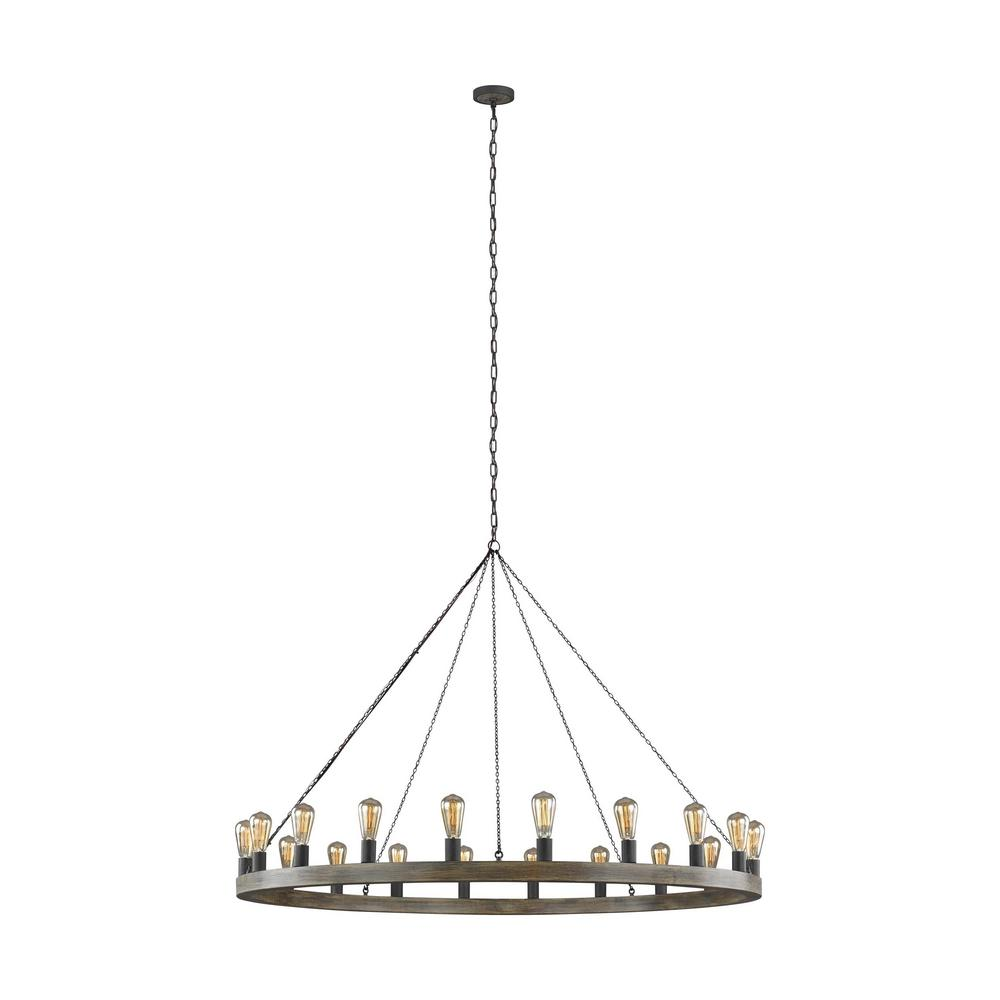 Avenir 20-Light Weathered Oak Wood and Antique Forged Iron Chandelier