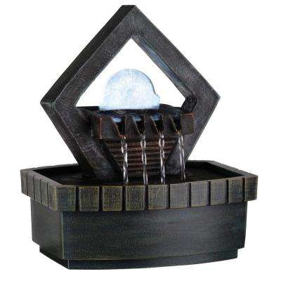 9.5 in. Meditation Green Earth-Tone Fountain with LED Light