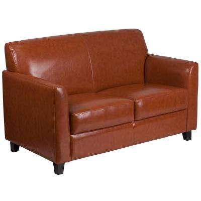 Cognac Faux Leather Loveseat