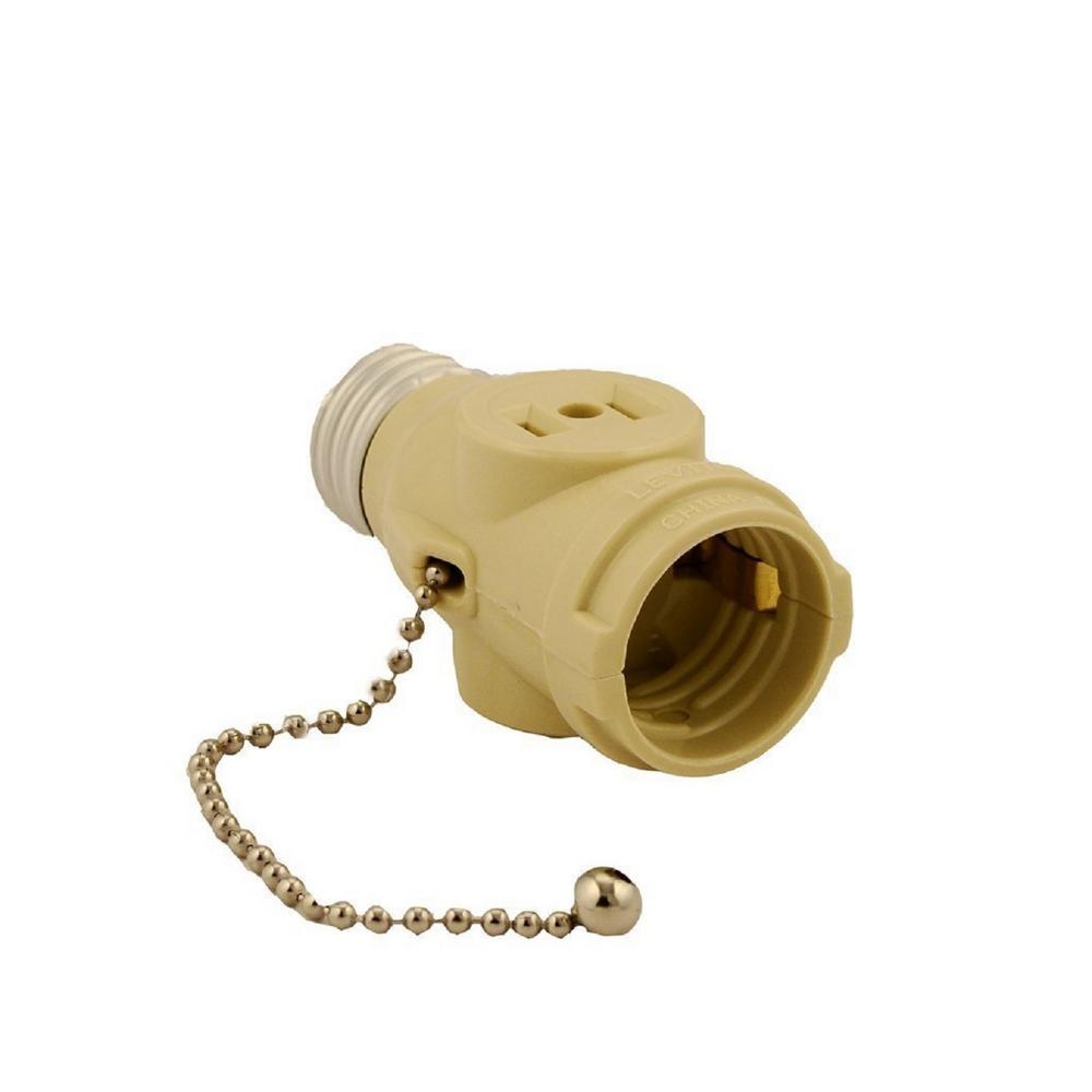 660-Watt 15 Amp 2-Outlet Socket Adapter with Pullchain, Ivory