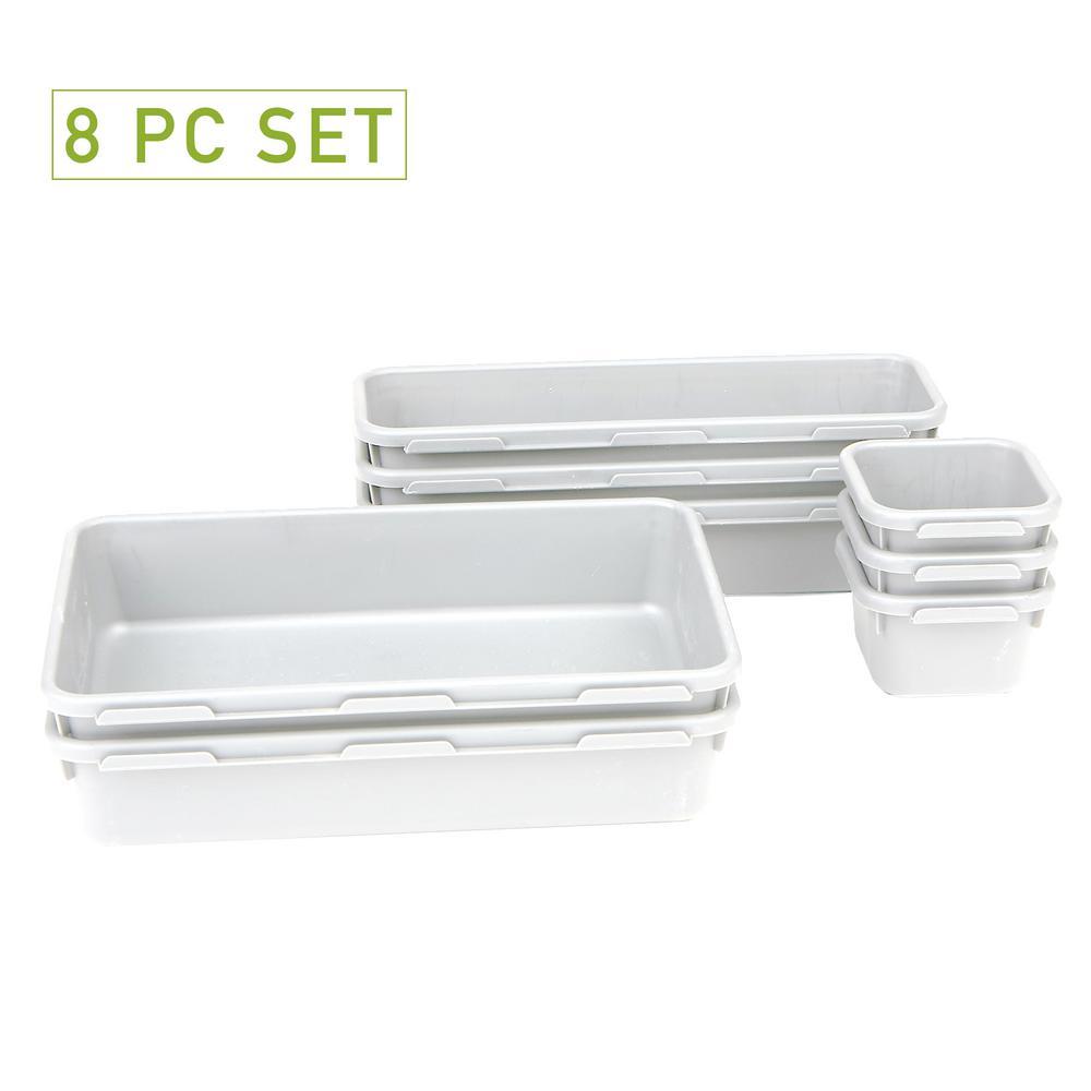 Interlocking Multi Purpose Storage Compartment Organizer, White (8-Piece)