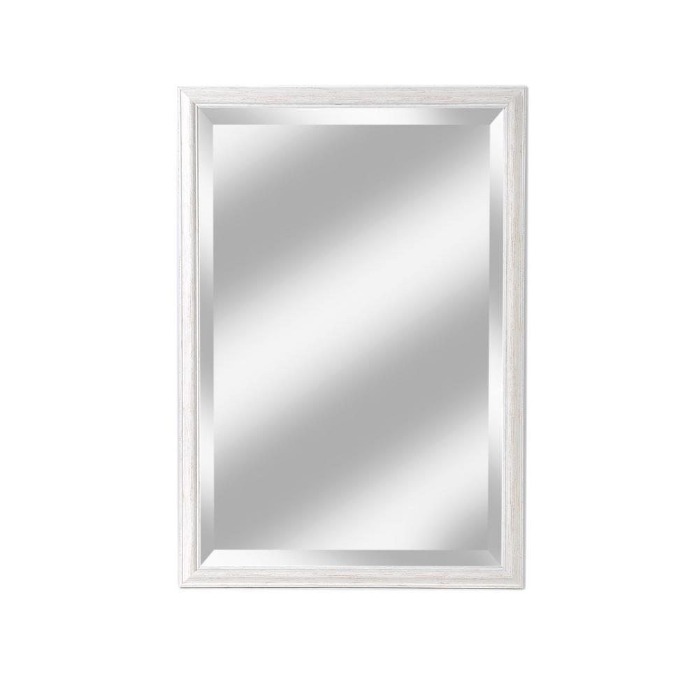 Savannah Brushed White Beveled Mirror