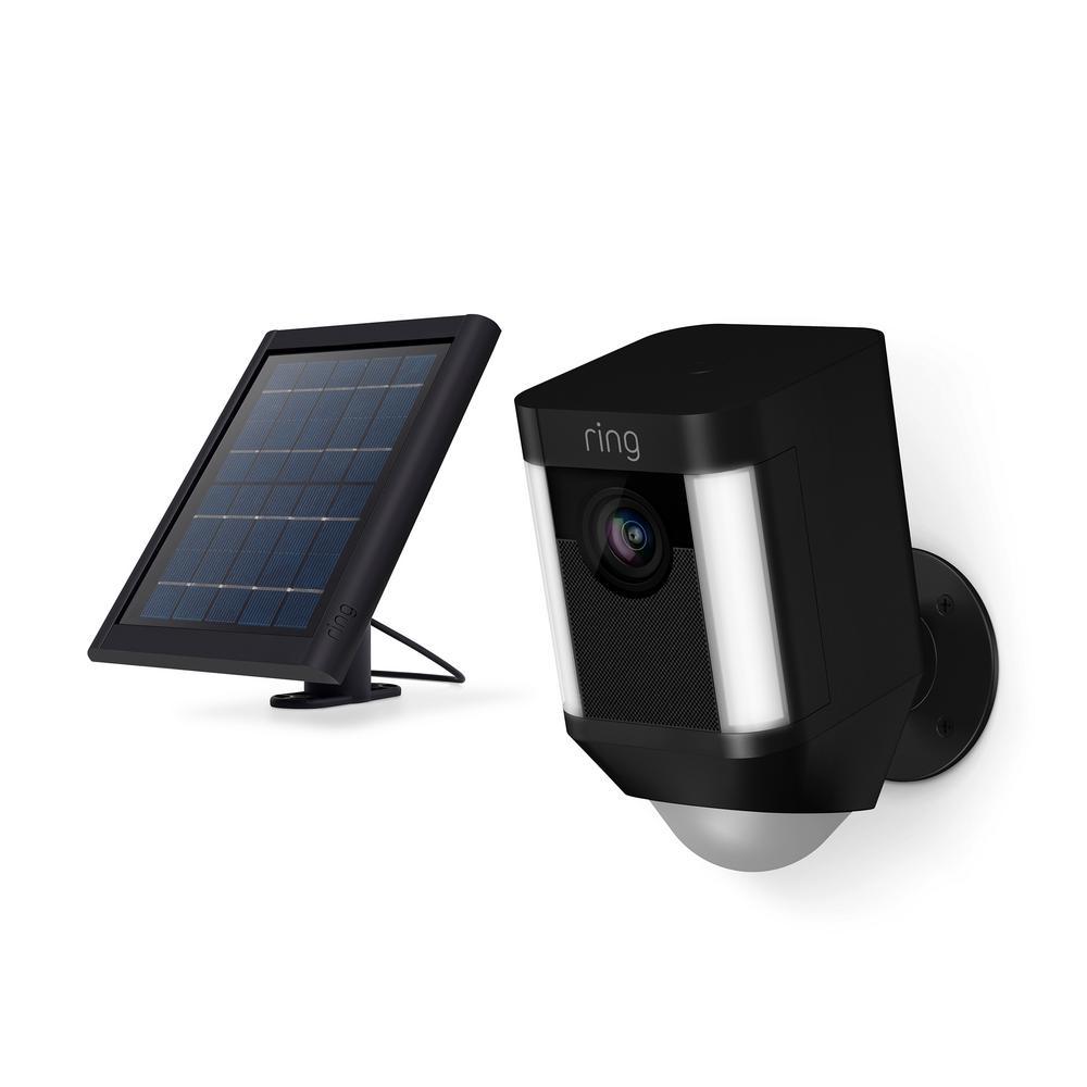 Spotlight Cam Solar Outdoor Security Wireless Standard Surveillance Camera in Black