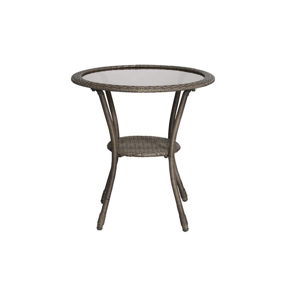 Spring Haven Grey Wicker Outdoor Patio Bistro Table