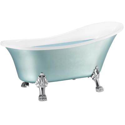 60 in. Fiberglass Double Slipper Clawfoot Non-Whirlpool Bathtub in Glossy Red & White Marble In Matte Lichen Green