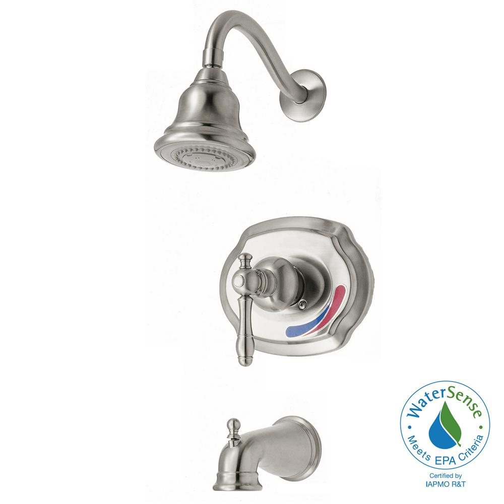 Glacier Bay Lyndhurst WaterSense Single-Handle 1-Spray Tub and Shower Faucet in Brushed Nickel