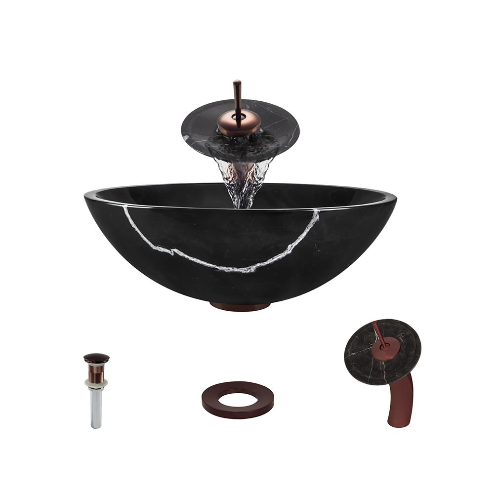 MR Direct Stone Vessel Sink in Black Marble with Waterfall Faucet ...